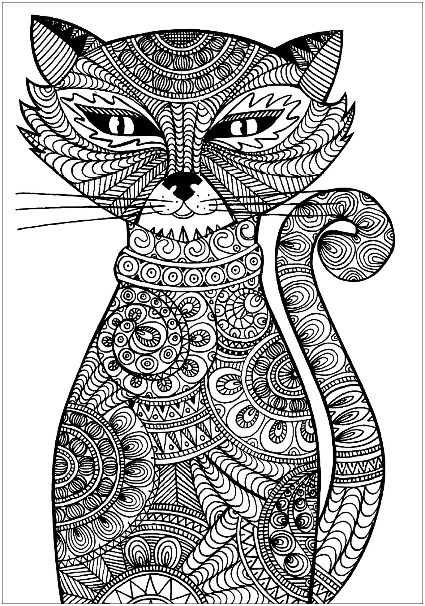 Cat Cat With Zentangle Patterns From The Gallery Cats Keywords Pet Just Color Discover Al Cat Coloring Book Mandala Coloring Pages Cat Coloring Page [ 1958 x 1374 Pixel ]