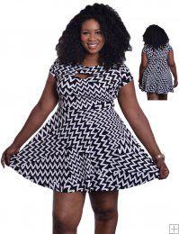 BLACK AND WHITE CHEVRON PATTERN PRINTED CUTOUT DRESS  WHOLESALE PLUS SIZE DRESSES  11103 PLUS PRINTED DRESS UNIT PRICE$13.75 1-1-1PACKAGE 3PCS