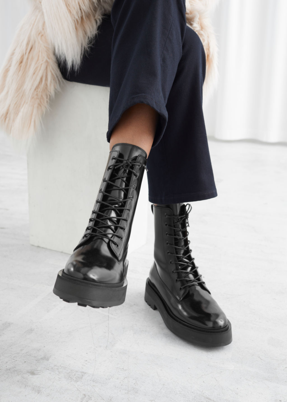 Chunky Leather Lace-Up Boots   Leather