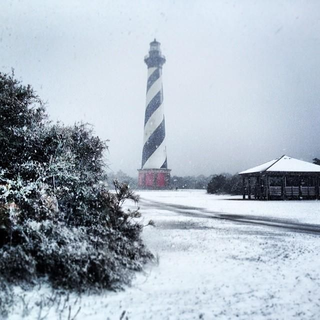 Light dusting of snow at Cape Hatteras Lighthouse. :: February 11, 2014 :: #SnOBX Instagram/@mary_murdock