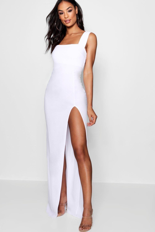 Womens Tall Square Neck Side Split Maxi Dress White 6 In 2021 Side Split Maxi Dress Split Maxi Dress Tall Maxi Dress [ 1500 x 1000 Pixel ]