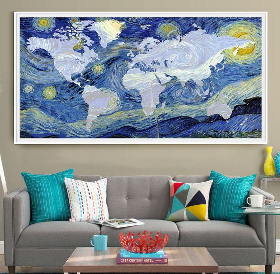 Van Gogh World Map Poster Print Extra Large Map Wall Art Starry - Where can i buy world map wall poster