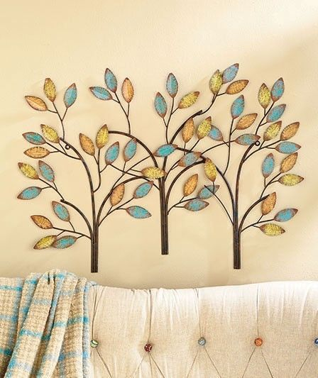 Hanging Abstract Metal Tree Sculpture Wall Art Fall Colors Leaves ...