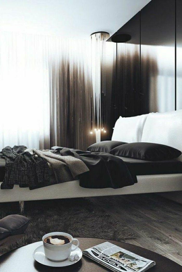Idea abbinamento colori camera da letto, grigio e nero, pavimento in ...