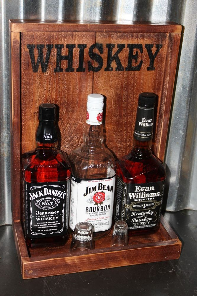 WHISKEY Back Bar Liquor Shelf Display Handmade Bar Rustic Man Cave