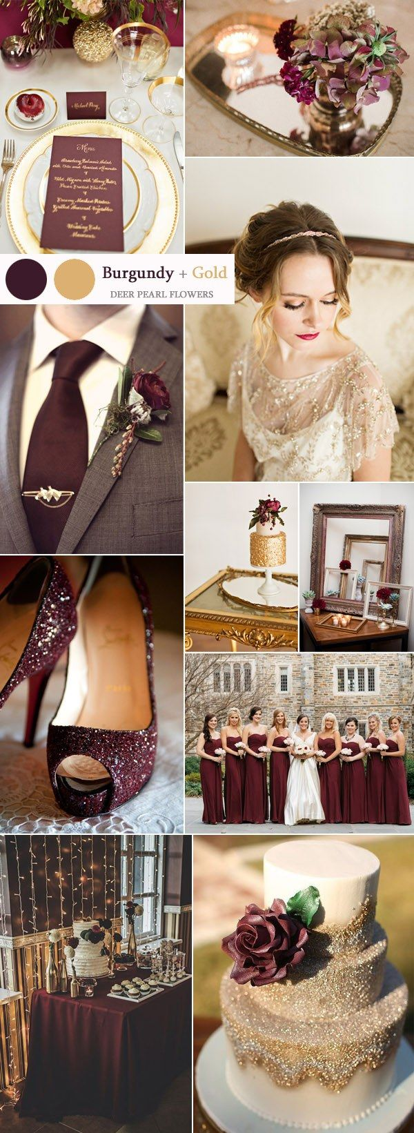 vintage burgundy and gold wedding ideas