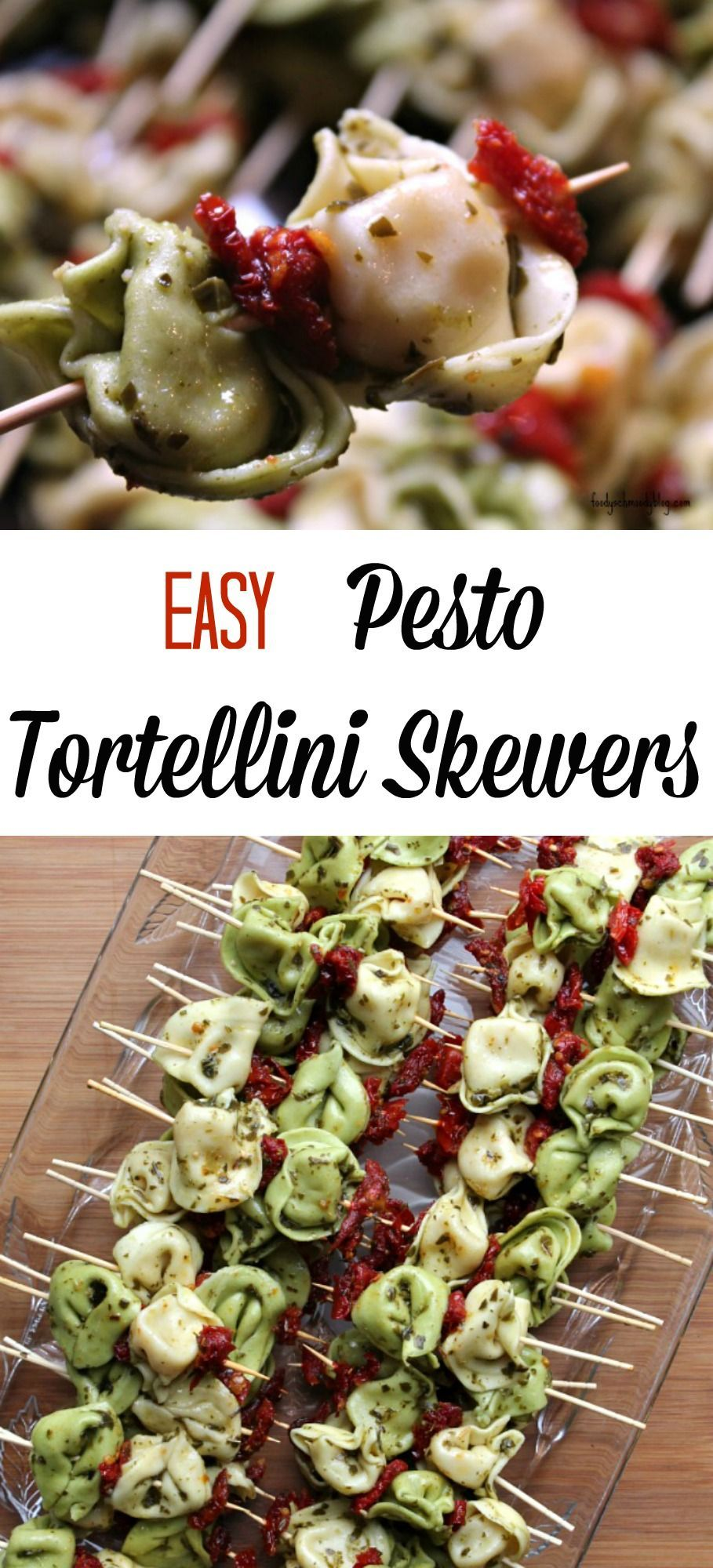 Easy Pesto Tortellini Skewers Everyone loves these easy, cheesy, Pepperoni Pizza Bombs! Made with Crescent roll dough, these easy and delicious pizza bites bake up quickly in the oven. Serve these pepperoni cheese pizza bombs at your next party and amaze your guests! #appetizersforparty