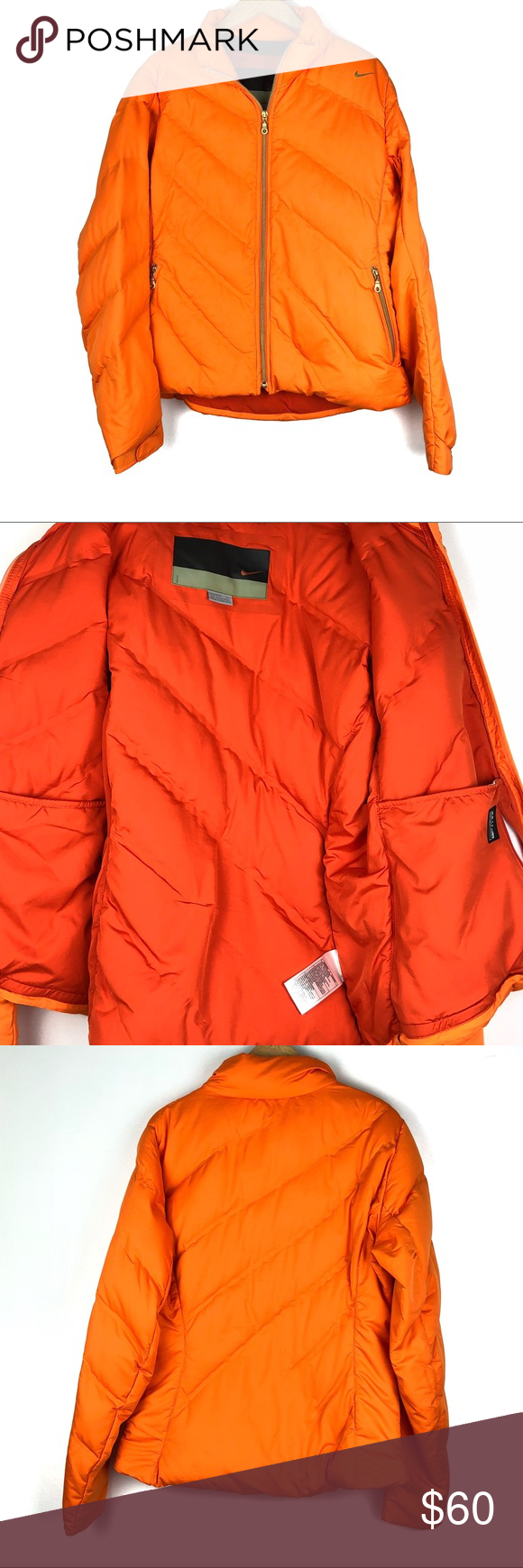 Nike Puffer Jacket L Orange Goose Down Fill O1512 Nike Puffer Jacket Jackets Clothes Design [ 1740 x 580 Pixel ]
