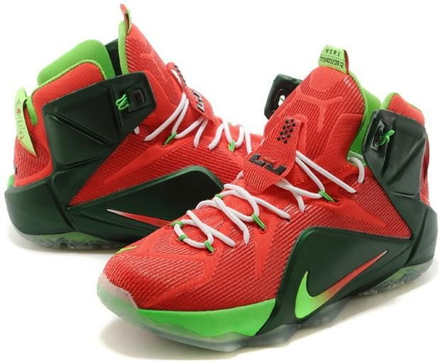 size 40 f43e8 d52ab Nike LeBron 12 Sport Red Mystic Green-Lucky Green-White For Sale2