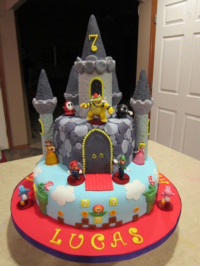 Bowsers Castle Cake Video Game Cake Game Cakes Pinterest - Bowser birthday cake