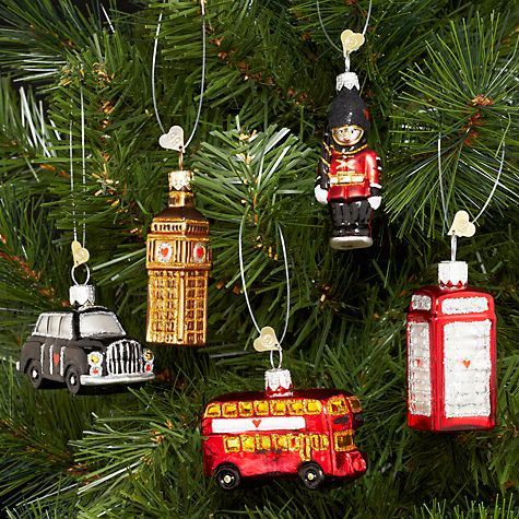 Bombki Tourism Little London Glass Hanging Decorations Set Of 5 Glass Christmas Ornaments Hanging Decor London Christmas