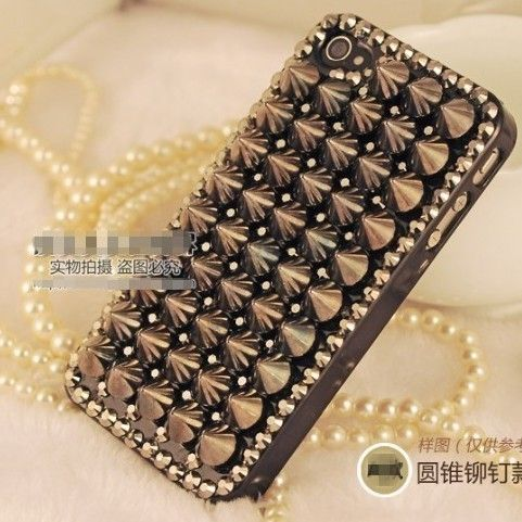 New Luxury Punk Spikes Studs Rivet Hard Back Case Cover Skin for iPhone 4 4G 4S