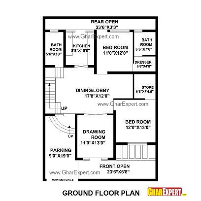 House Plan For 35 Feet By 48 Feet Plot Plot Size 187 Square Yards Gharexpert Com My House Plans Basement House Plans House Plans Mansion