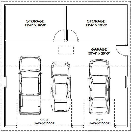 36x36 3 car garage 36x36g2b 1 295 sq ft excellent for 36 x 24 garage
