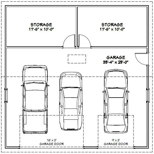 36x36 3 car garage 36x36g2b 1 295 sq ft excellent floor plans addition ideas for 24 x 36 garage