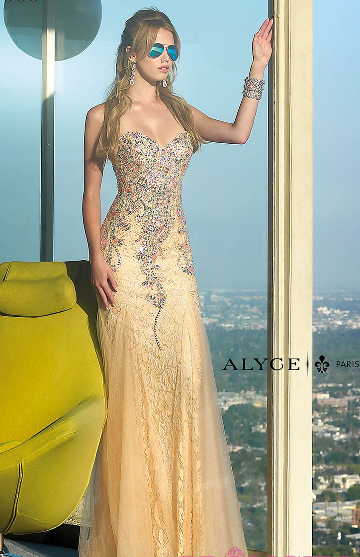 Strapless sweetheart lace prom dress with jewel detailing style