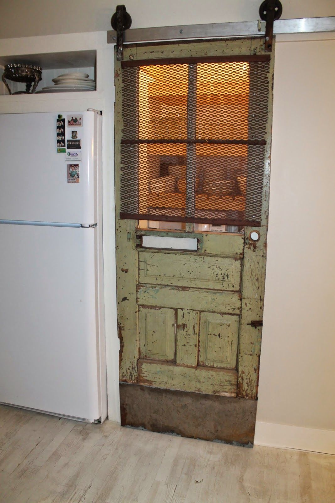 Vintage Pantry Barn Door With Screen And Automatic Light Girl Meets