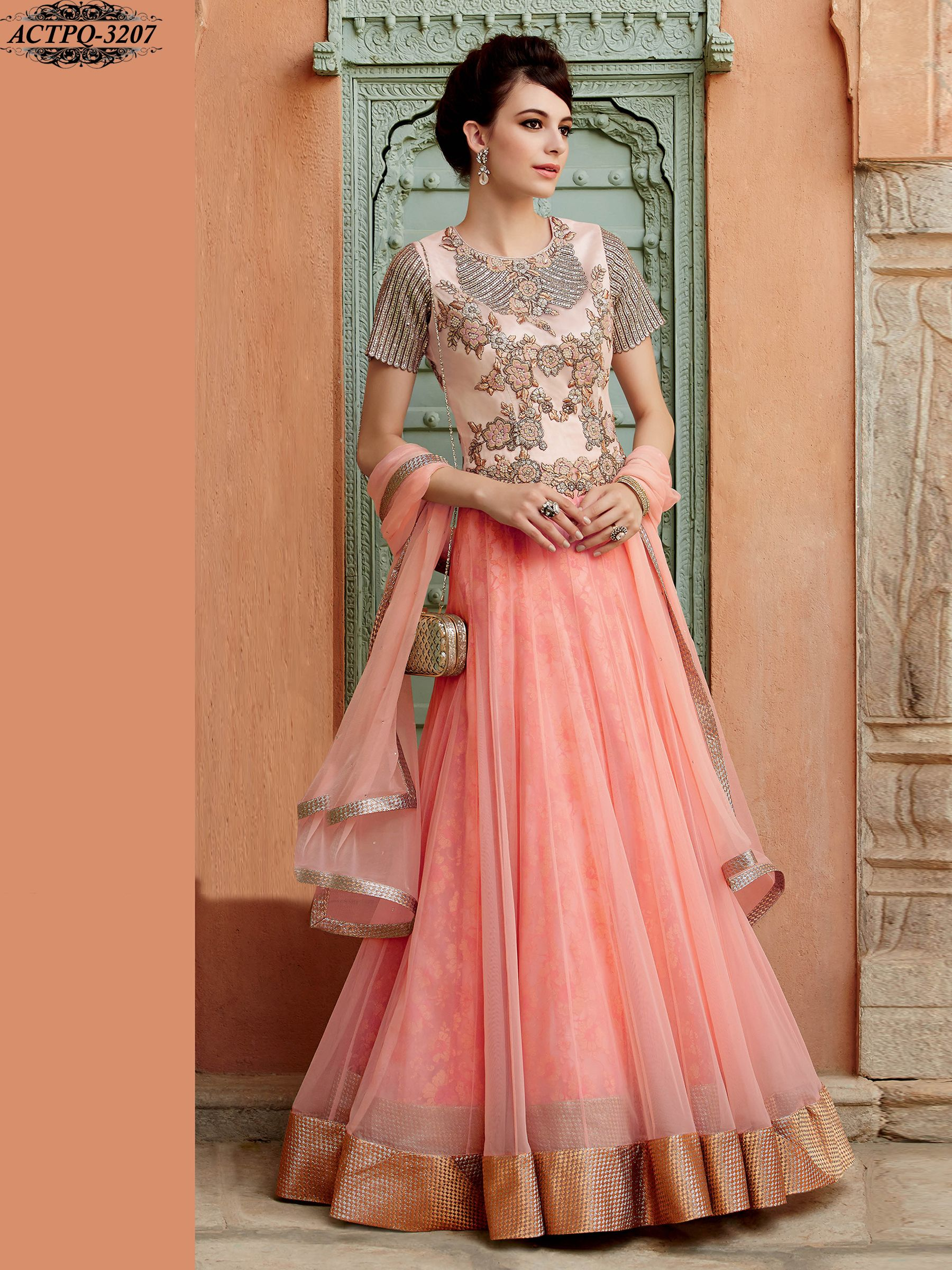 Designer salwar kameez mesmeric peach color net designer suit - Pink Color Net Anarkali Shop Now Www Glamyshop Com Indian Salwar Kameezindian Anarkalidesigner