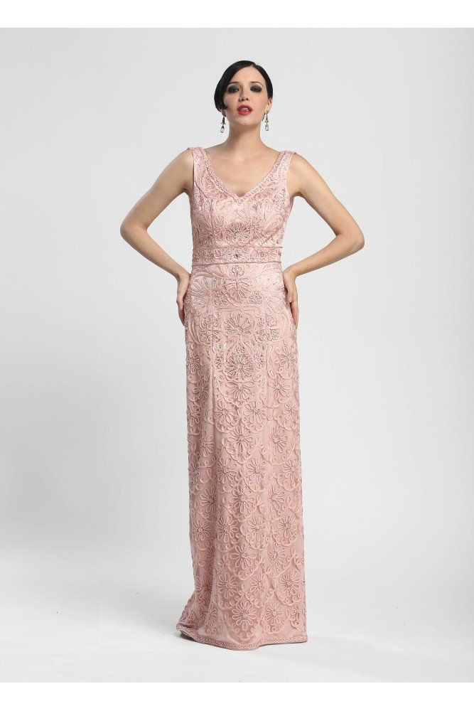 Elegant Embroidered Short Cocktail Dress in Blush by Sue Wong - SOLD ...