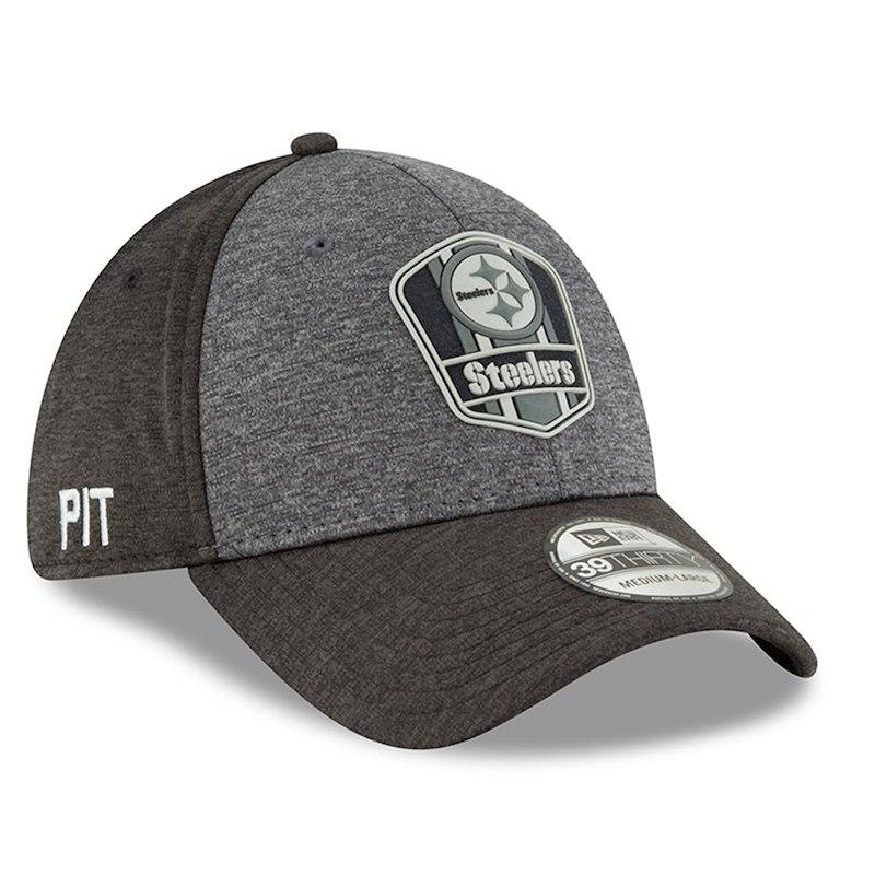 Pittsburgh Steelers New Era 2018 NFL Sideline Road Graphite 39THIRTY Flex  Hat – Heather Gray Heather Black 4172ca07a8c4