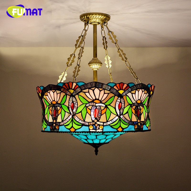 Fuamt Stained Glass Pendant Lamp European Style Glass Art Lamp For Delectable Stained Glass Light Fixtures Dining Room Inspiration