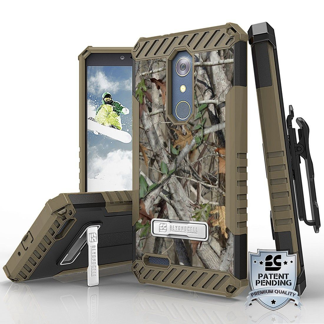 Tri Shield For ZTE Z Max Pro / ZTE Carry Z981 Autumn Camouflage, Belt Clip Holster