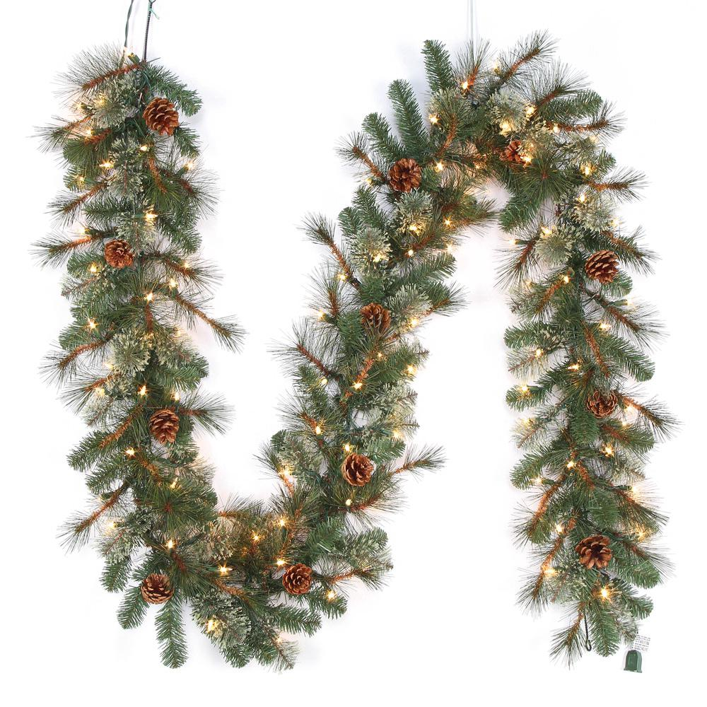 Home Accents Holiday 9 Ft Alexander Pre Lit Led Pine Artificial Christmas Garland With 165 T In 2020 Christmas Garland Artificial Christmas Garland Artificial Garland