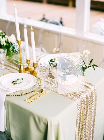Mint Green Tablecloth With Gold Details Sequin Table Runner