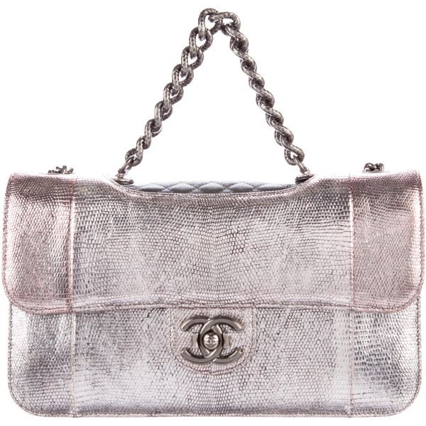 839db5950d98 Pre-owned Chanel Lizard Perfect Edge Flap Bag (22,500 SAR) ❤ liked on  Polyvore featuring bags, handbags, metallic, metallic purse, man bag,  quilted flap ...