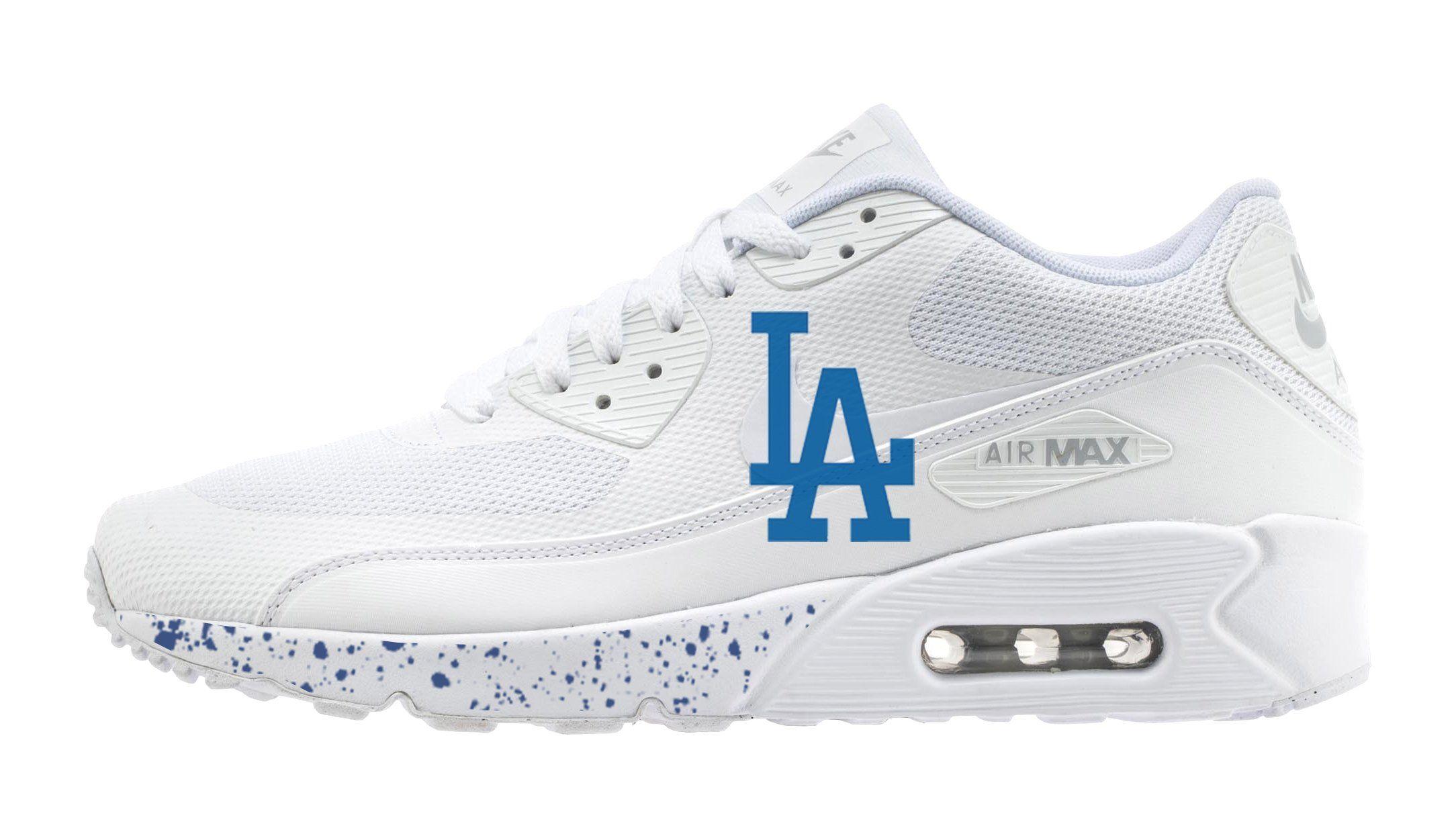 newest collection 94ce1 6f30e LA Dodgers Big Print Custom White Nike Air Max Shoes ...