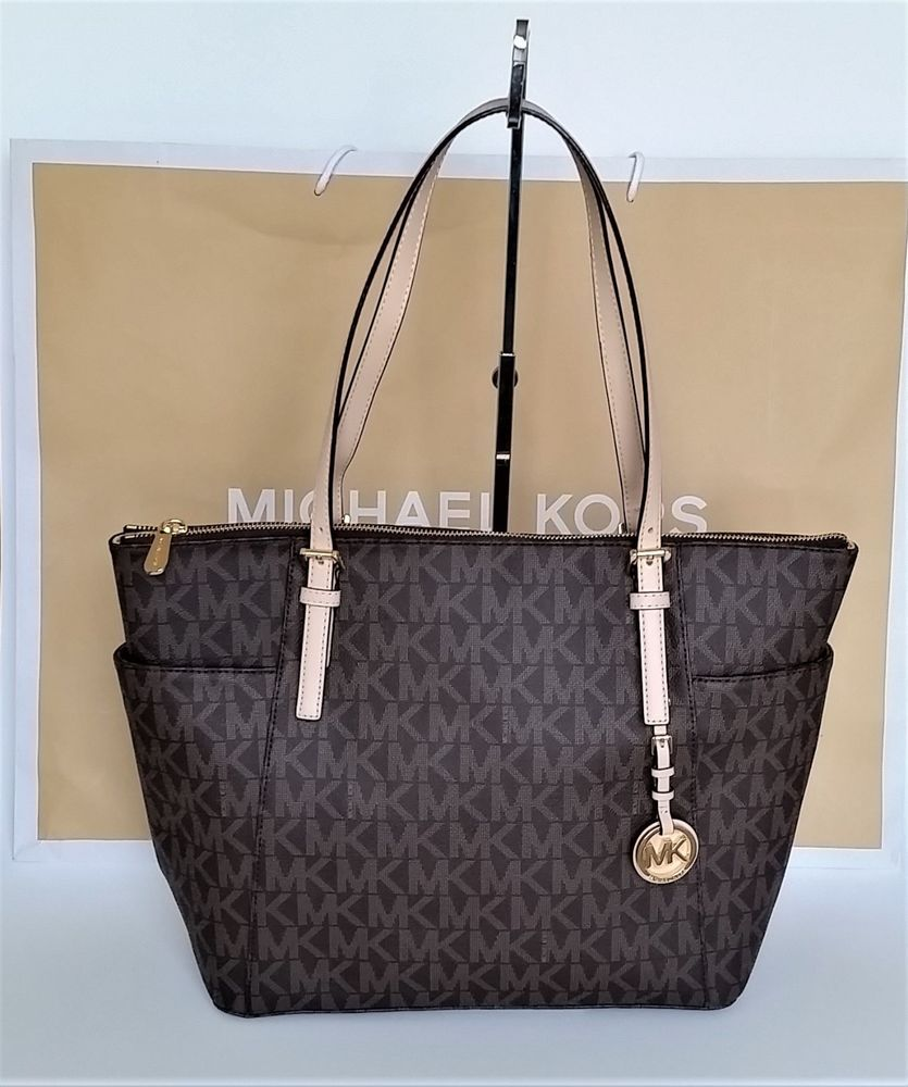 c2dfaf504cdf39 $139 NWT MICHAEL KORS Jet Set MK EAST WEST Top Zip Tote Bag PVC/Leather  BROWN $348 #MichaelKors #TotesShoppers