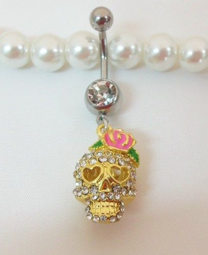 Bellybutton jewelry with cute gold girlie skull and pink bow 14ga | YOUniqueDZigns - Jewelry on ArtFire