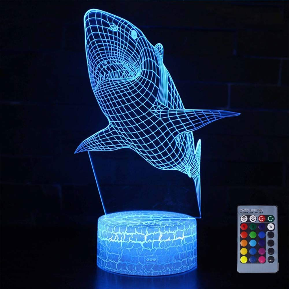 Gocoler Shark 3d Night Light Birthday Gifts For Kids Remote And Touch Control Shark Kids Lamp 3d Creative Visi In 2020 Night Light Kids Shark Kids Room 3d Night Light