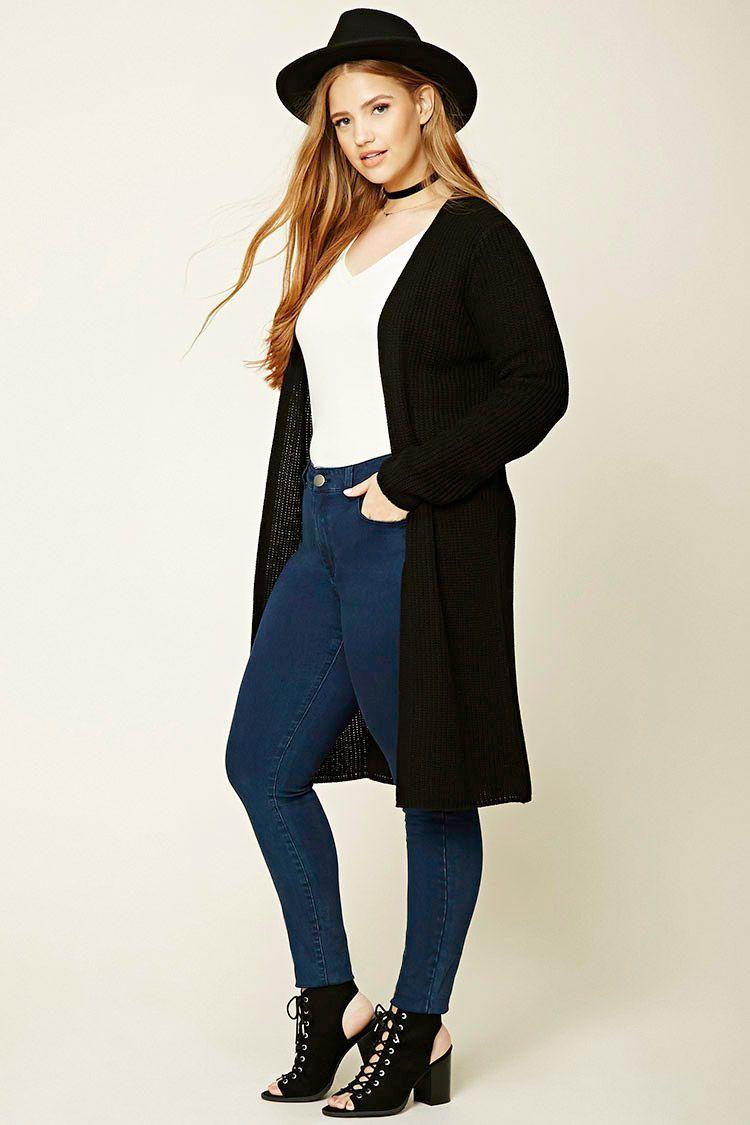 02da303f7c6 Forever 21+ - A loose-knit cardigan featuring a longline silhouette ...