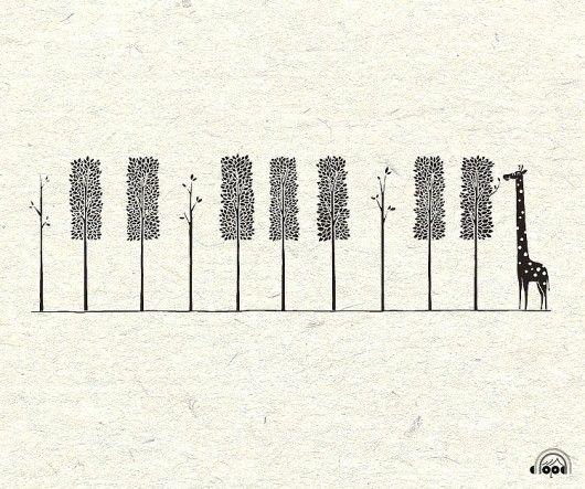 illustration / giraffe, piano