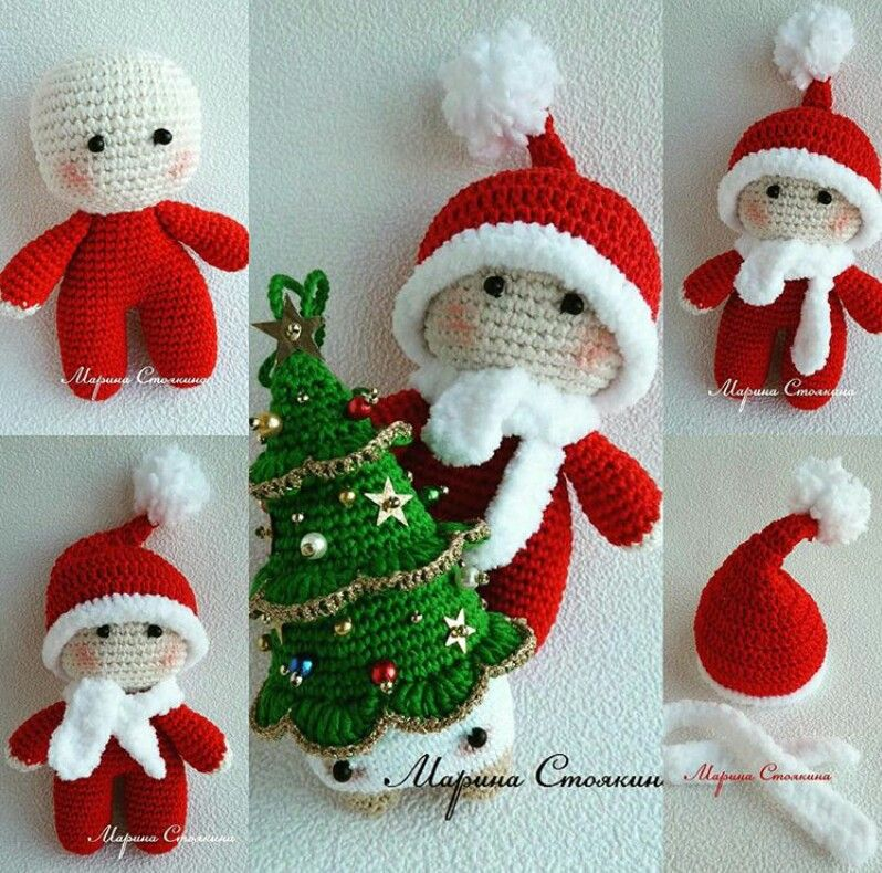 CROCHET  BIG HEAD DOLL  BABYDOLL YOYO  CHRISTMAS  Crochet