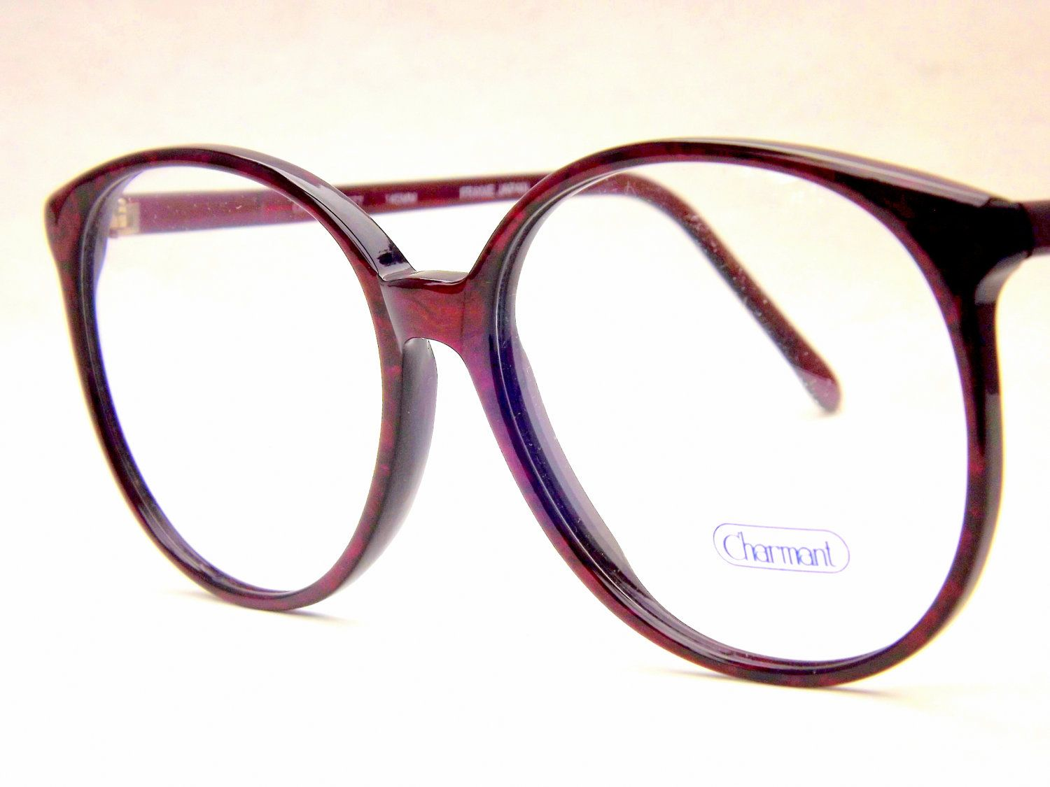 e80a0be7fba Big Preppy Burgundy Wine Eyeglasses - Vintage Eyewear - Womens Round 80s Vintage  New Old Stock Frames.  45.00