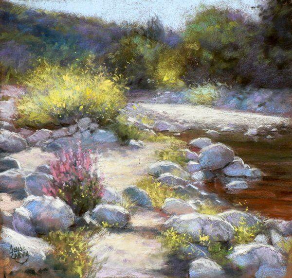 Au bord de l 39 eau peinture 40x40 cm par claude carvin pastel sec sur pastelcard de format - Peinture au pastel sec ...