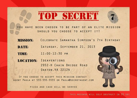 Attractif Invitation Anniversaire Agent Secret | Gosupsneek SS29