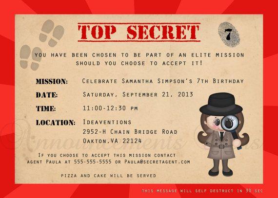 5x7 Secret AgentSpyDetective Birthday Invitation by – Top Secret Party Invitations