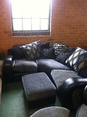 Dfs Mylo Black Leather Fabric Corner Sofa Swivel Cuddle