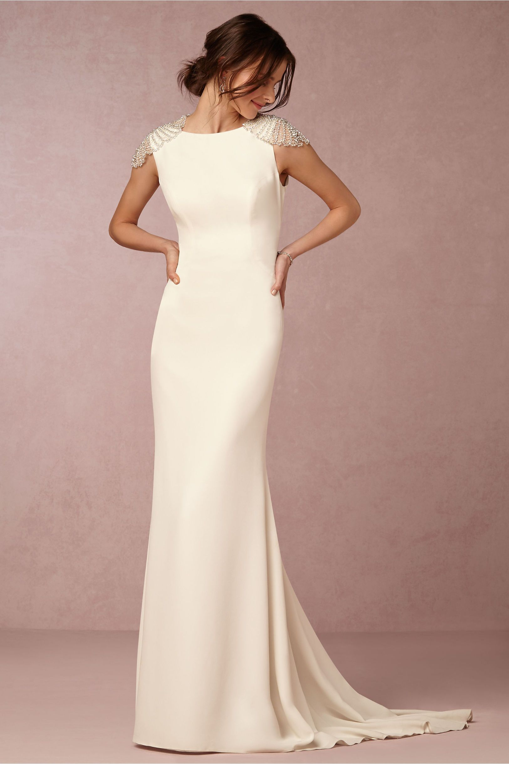 Dylan Gorgeous Sophisticated Cream Colored Crepe Column Sheath Wedding Gown Featuring A Bateau Neckline Cap Sleeves Incredible Detailed Feature
