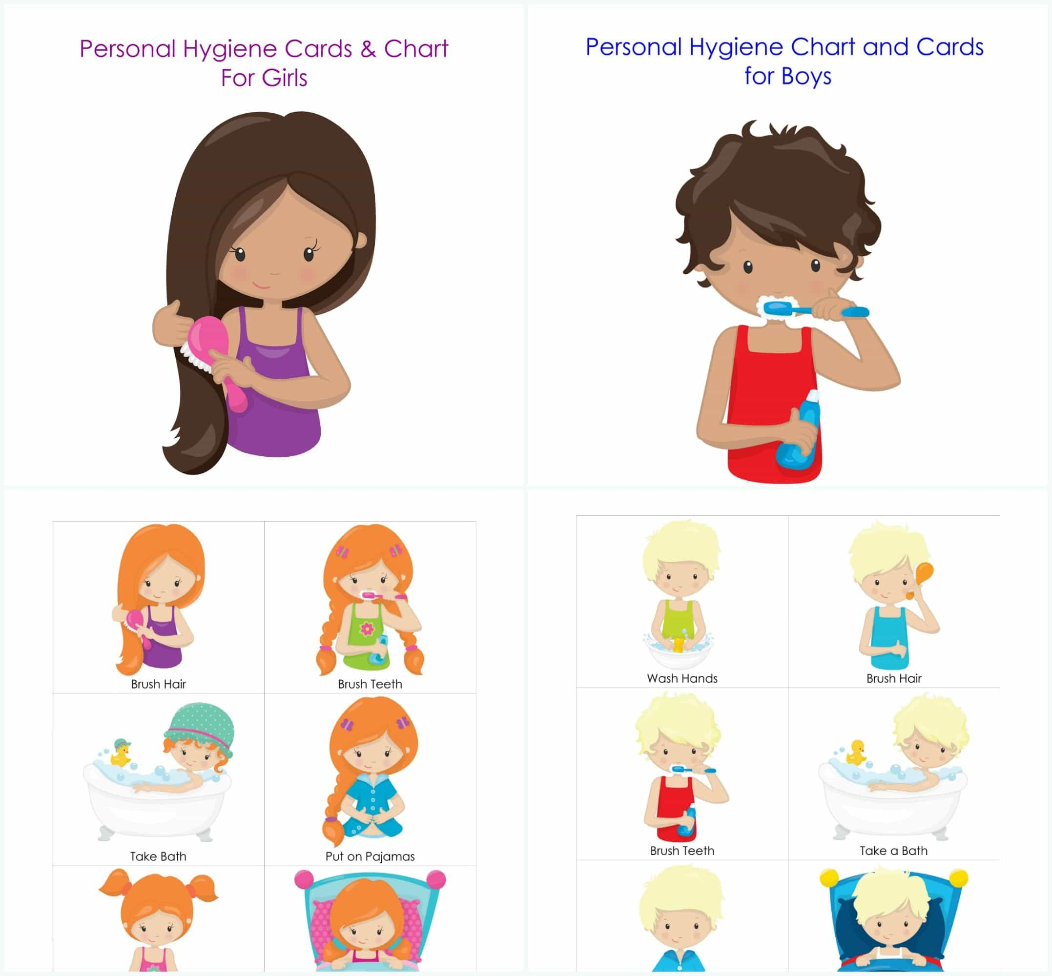 Personal Hygiene And Bedtime Routine Chart And Cards For