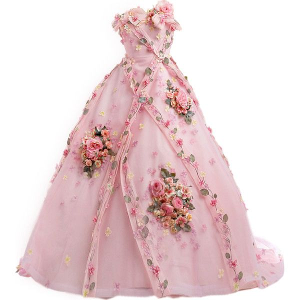satinee.polyvore.com - Yumi Katsura ❤ liked on Polyvore featuring dresses, gowns, pink, satinee, strapless gown, strapless evening gown, pink strapless dress, yumi dress, evening gowns e masquerade ball gowns
