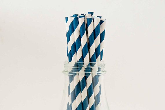 100 Royal Blue Paper Straws BLue Striped Retro by FancyThatLoved, $15.95