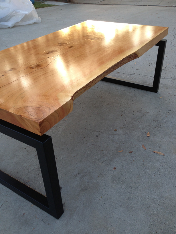 Modern Floating Live Edge Wood Slab Coffee Table Top With Steel Base. Clear  Coat Natural