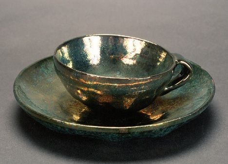 Green Luster Plate and Cup from The Beatrice Wood  Permanent Collection