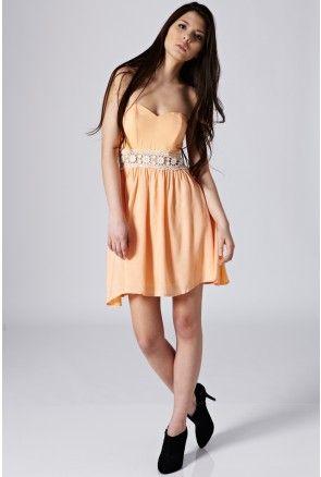 Bandeau Dress With Lace Crochet - SALE