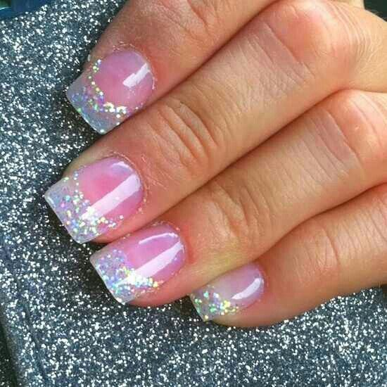 Pink With Glitter French Tips And Gloss Finish