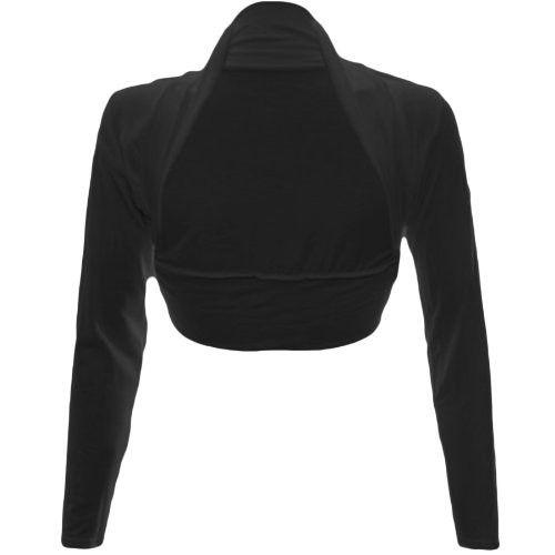Fashion Wardrobe Womens Long Sleeve Boleros Shrugs Tops Ladies Casual Crop Cardigan Bolero Top ♥ (USA 6-8 / UK 6-10 (S/M), Black)